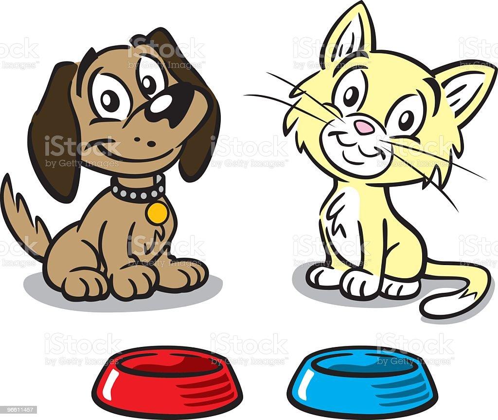 Puppy And Kitten - Royaltyfri Bortsprunget djur vektorgrafik