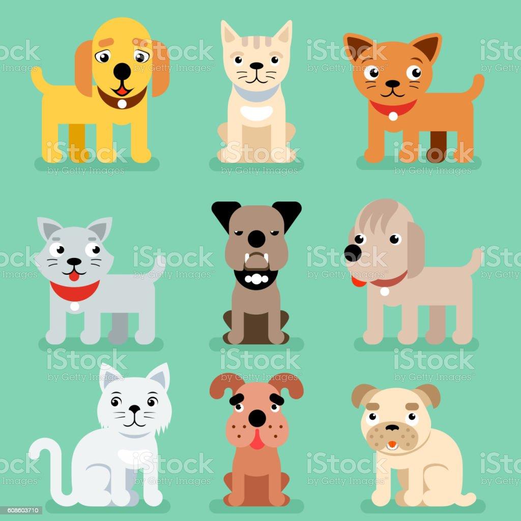 Puppy and kitten vector pet flat icons vector art illustration
