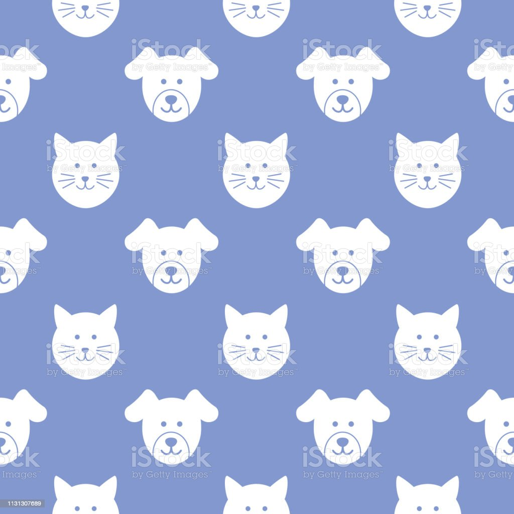 Vector seamless pattern of puppy and kitty faces on a blue background.