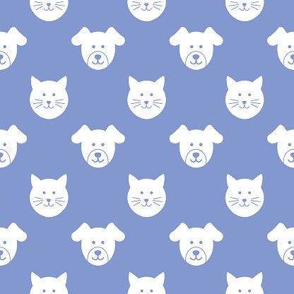 Puppy And Kitty Faces Seamless Pattern