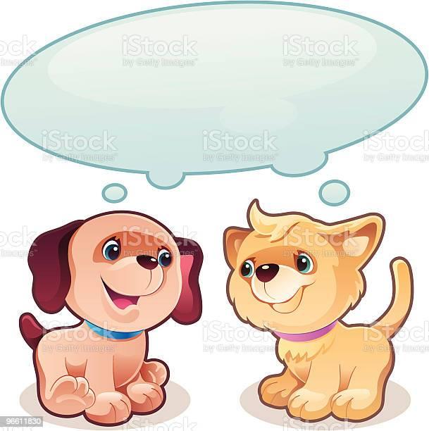 Puppy And Kitty-vektorgrafik och fler bilder på Datorgrafik