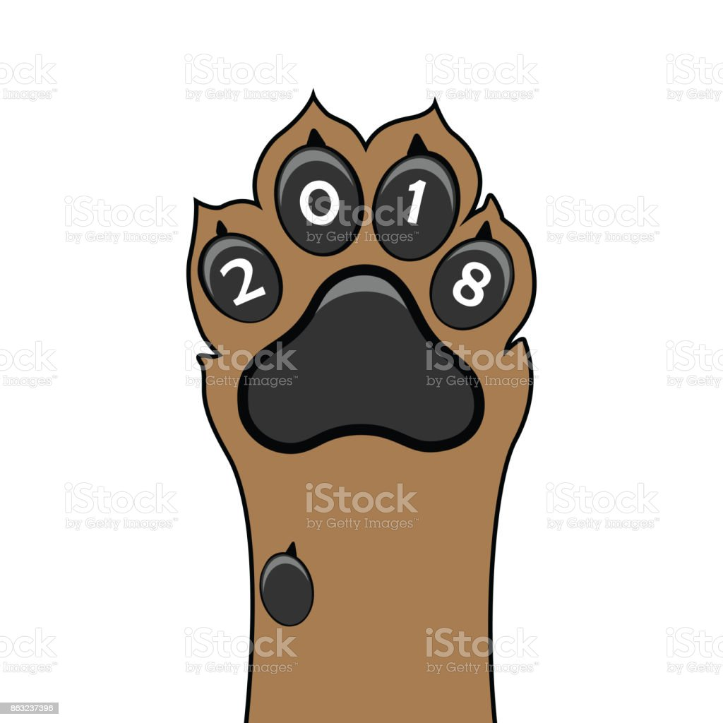 Puppy animal paw tattoo of Chinese New Year of the Dog vector file organized in layers for easy editing. vector art illustration