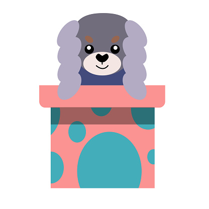 A puppy as a gift. Vector icon portrait of a small dog looking out of a box, drawn in the flat style. Cute Pekingese puppy. Vector illustration in cartoon style. Toy dog