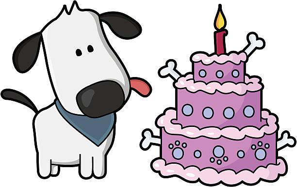 Chiot avec un gâteau d'anniversaire pour chiens - Illustration vectorielle