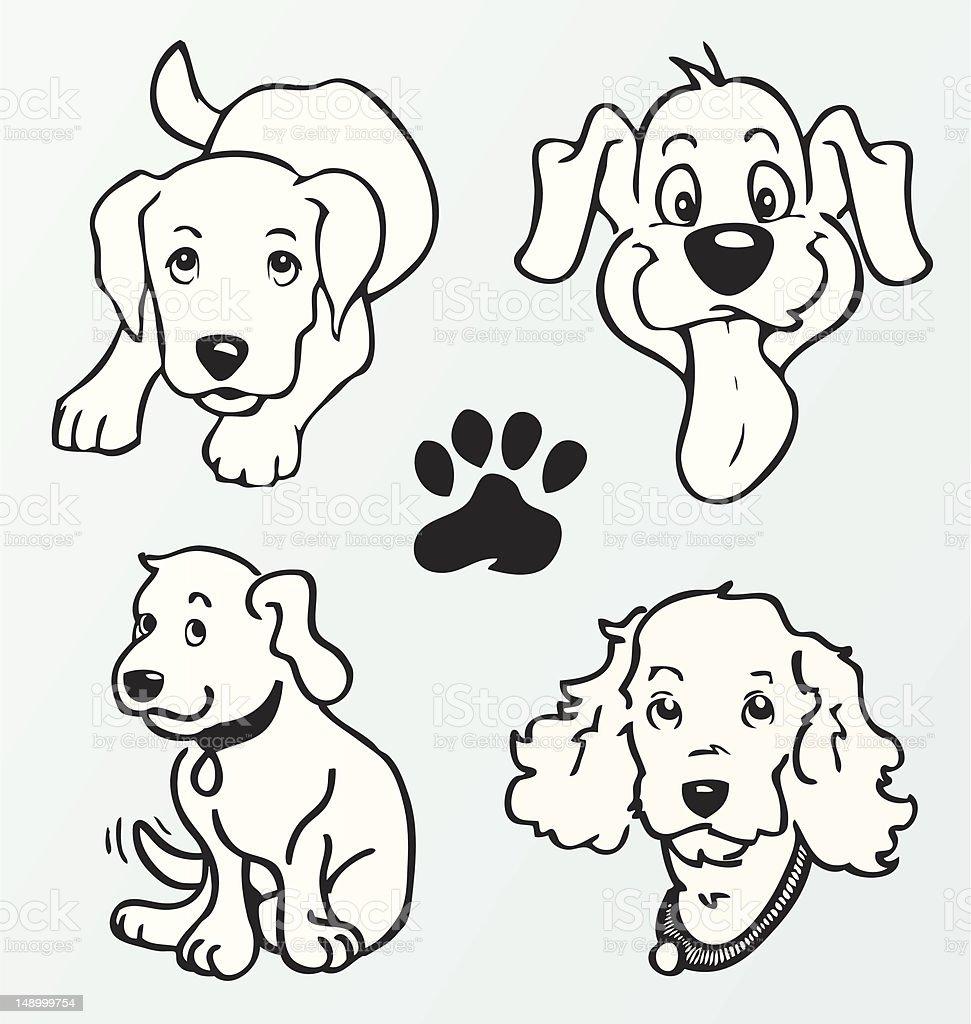 Puppy Cartoons (Vector Illustration) vector art illustration