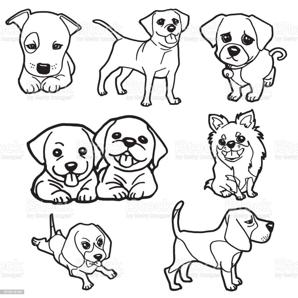 Vektör Boyama Kitabı Köpek Yavrusu Ayarla Stok Vektör Sanatı