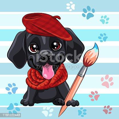 Vector cute little black puppy Labrador Retriever dog artist with brush