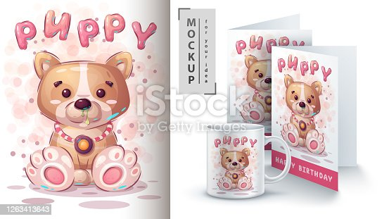 Puppy dog poster and merchandising