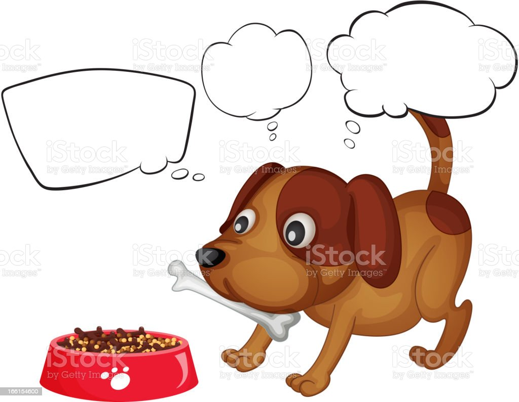 Puppy eating his food royalty-free stock vector art