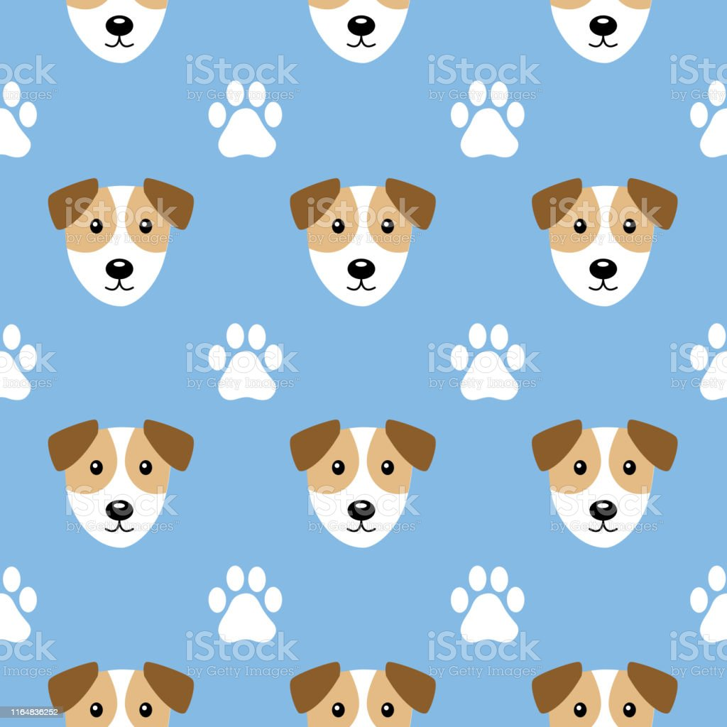 Vector seamless pattern of puppy faces and paw prints on a light blue...