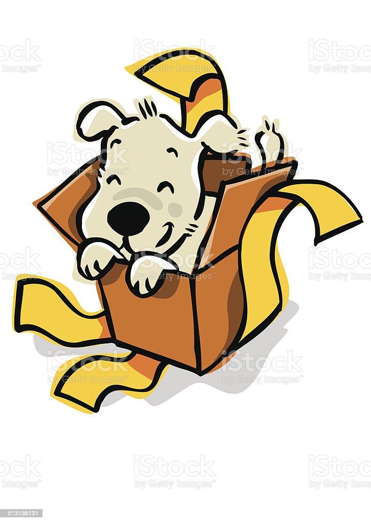 Cachorro en una caja empaquetado como la actual. - ilustración de arte vectorial