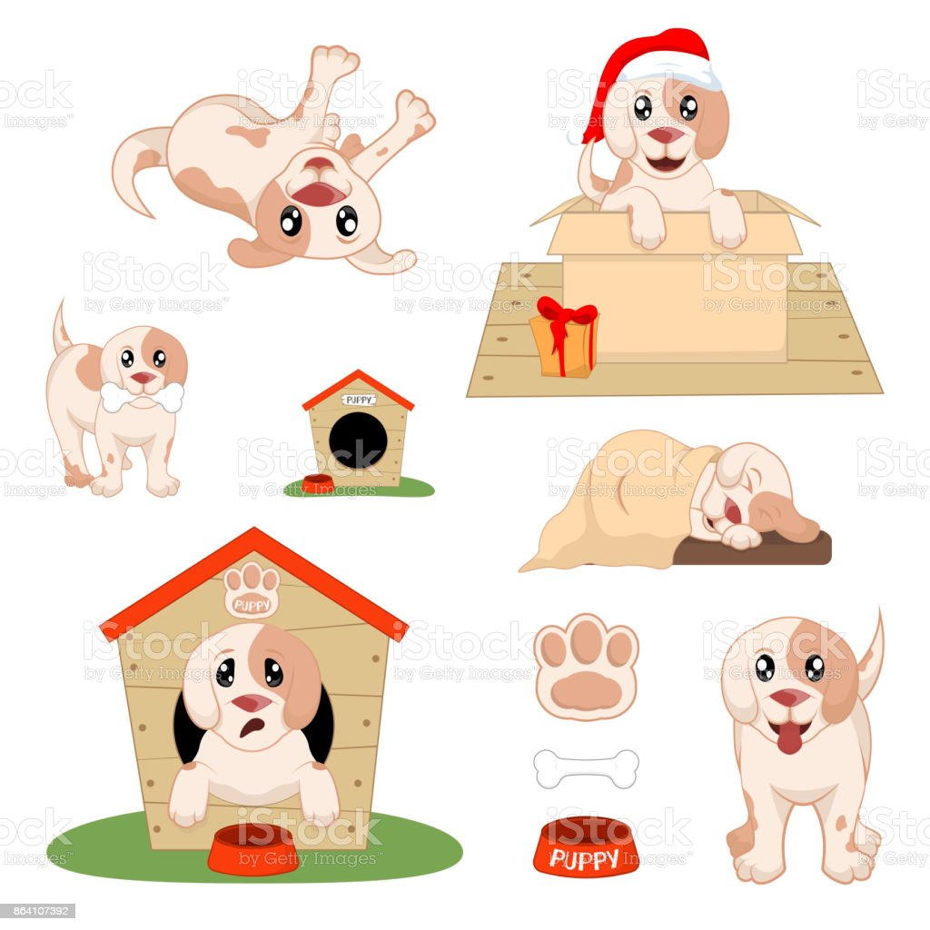 Puppy Installed Funny Cartoon Puppy in Different Poses. Puppy in the box, in the hat of Santa royalty-free puppy installed funny cartoon puppy in different poses puppy in the box in the hat of santa stock vector art & more images of animal