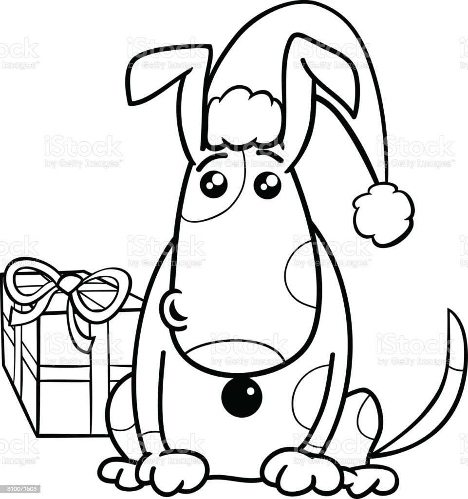 Ilustración de Perrito En Navidad Para Colorear Libro y más banco de ...