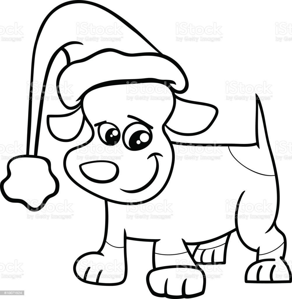 Ilustración de Perrito En Página Para Colorear De Navidad y más ...