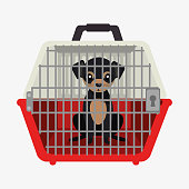 puppy pet travel carrier icon vector illustration eps 10