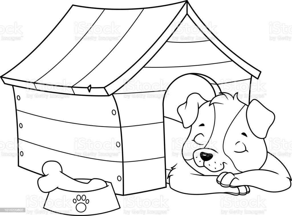 Ilustración de Cachorro Durmiendo En La Caseta De Perro Para ...