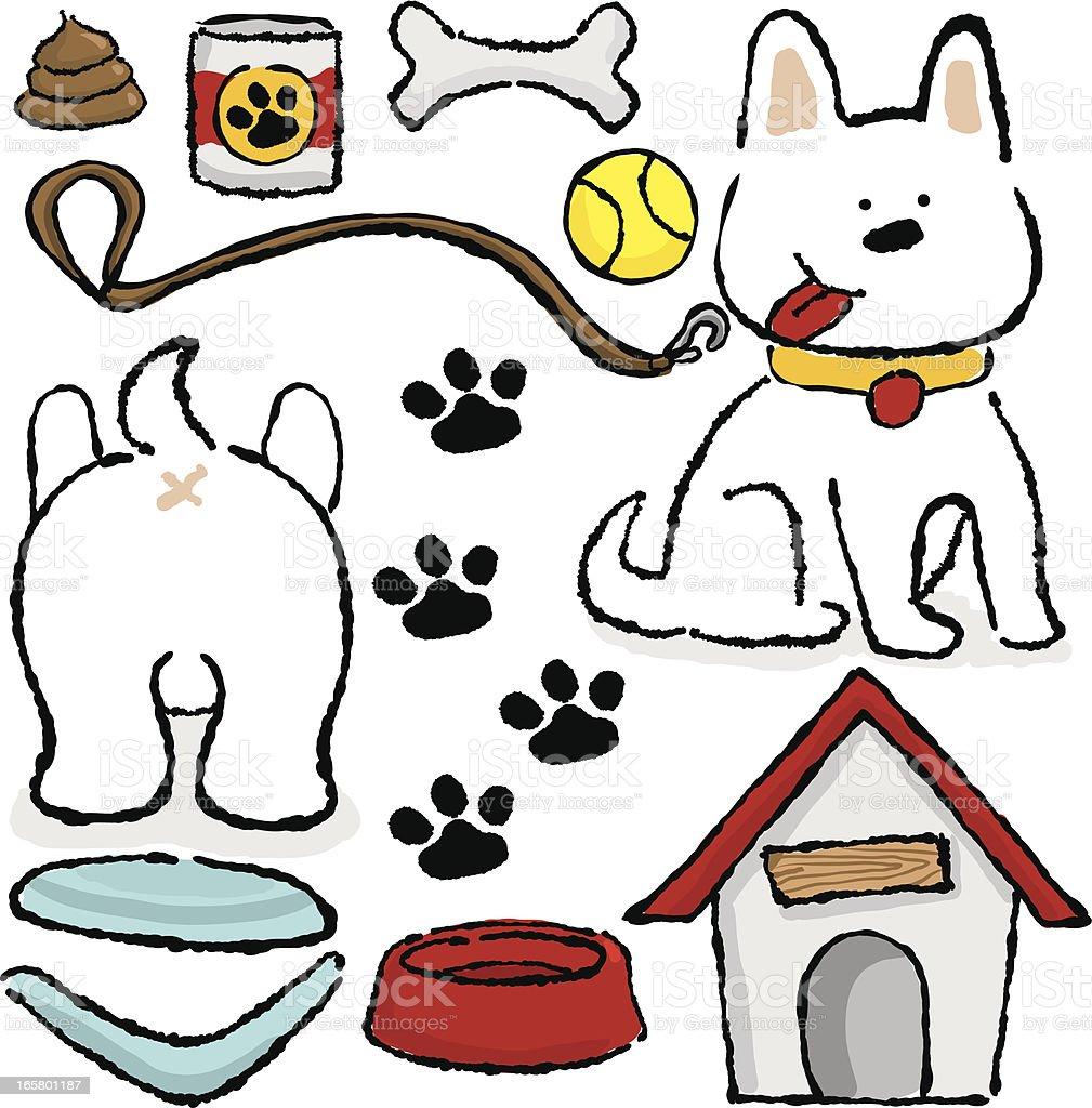 Puppy Stuff icon set vector art illustration