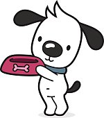 vector illustration of a little cartoon dog (puppy) with dog bowl is hungry and want some dog food