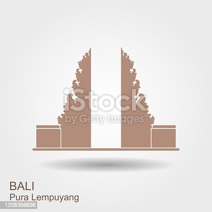 Pura Lempuyang temple flat icon with shadow. Indonesian religious places