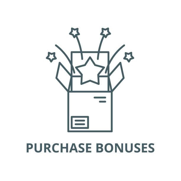 satın alma bonusları vektör çizgi simgesi, doğrusal kavram, anahat işareti, sembol - sale stock illustrations