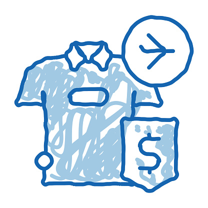 purchase cash t-shirt duty free doodle icon hand drawn illustration