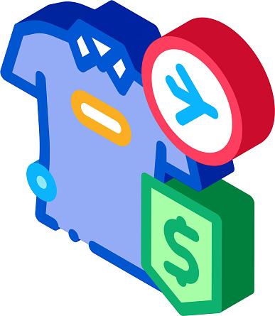 purchase cash t-shirt duty free isometric icon vector illustration