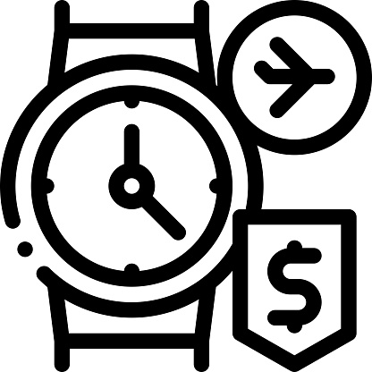 purchase cash wristwatch duty free icon vector outline illustration