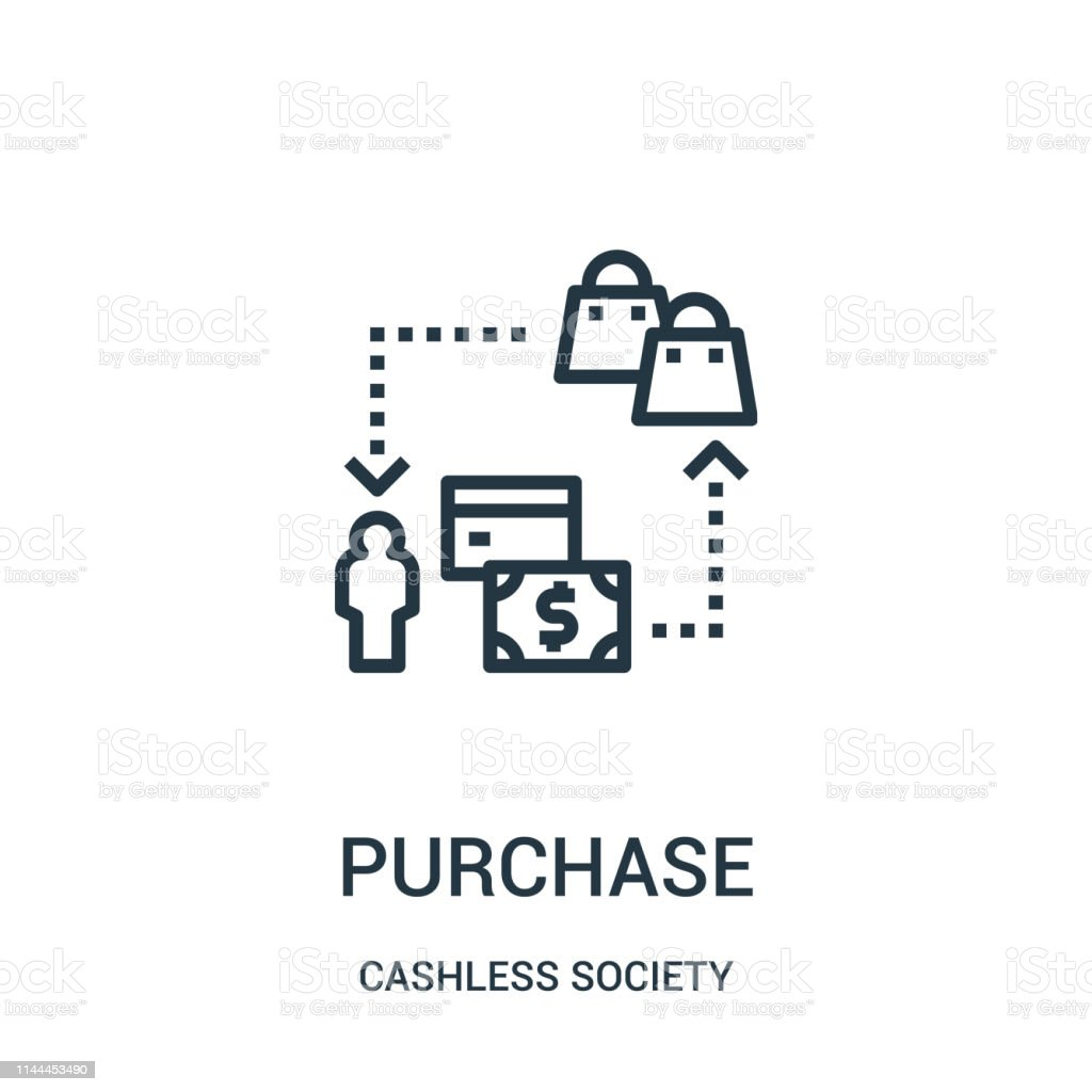 purchase icon vector from cashless society collection. Thin line...