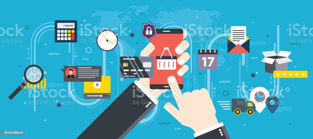 Im Internet Einkaufen auf Smartphone kaufen. – Vektorgrafik