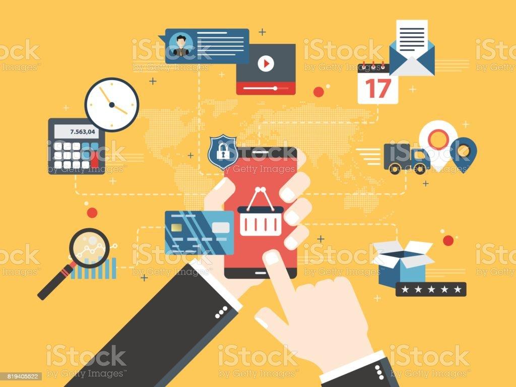 3117d8540b Comprar en tienda online de smartphones. ilustración de comprar en tienda  online de smartphones y