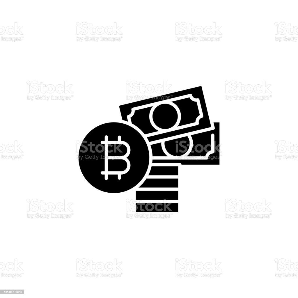 購買比特幣黑色圖示的概念。購買比特幣平面向量符號, 符號, 插圖。 - 免版稅互聯網圖庫向量圖形