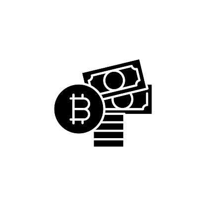購買比特幣黑色圖示的概念購買比特幣平面向量符號 符號 插圖向量圖形及更多互聯網圖片