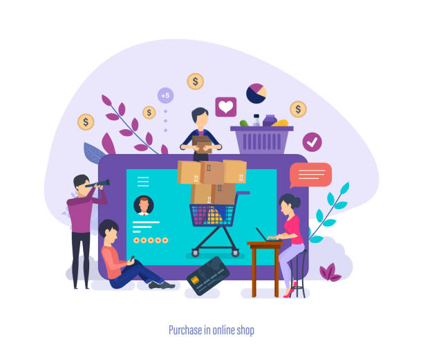 Purchase of goods by people through phone and online application. Purchase in online shop. Purchase of goods by people through phone and online application on computer, likes and feedback on products and store, buyers collect grocery basket. Vector illustration. online shopping stock illustrations