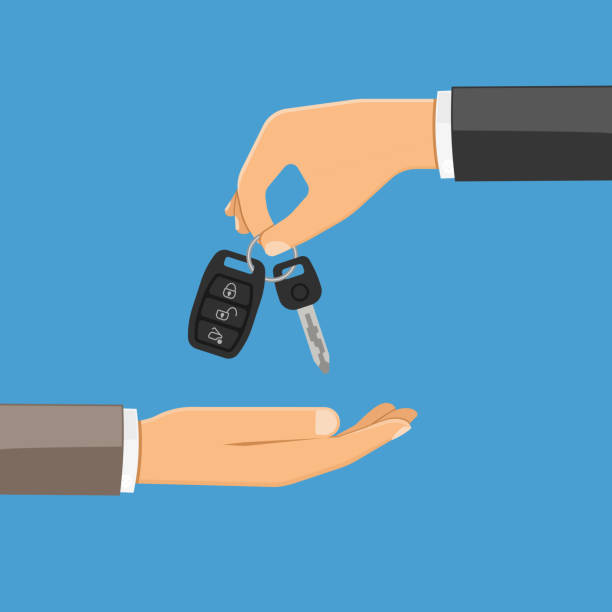 purchase or rental car concept hand giving car keys in the other hand. purchase or rental car concept with flat style icon. isolated vector illustration car key stock illustrations