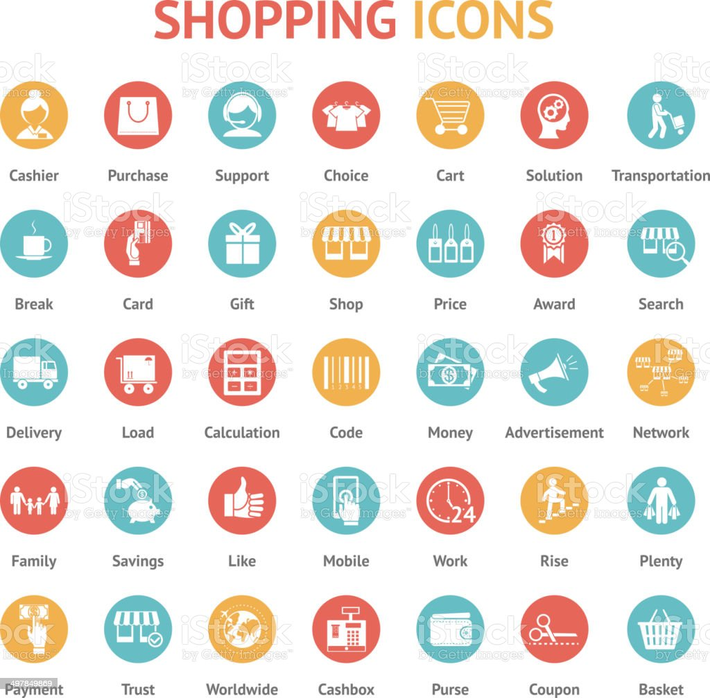 purchase, payment and delivery icons vector art illustration