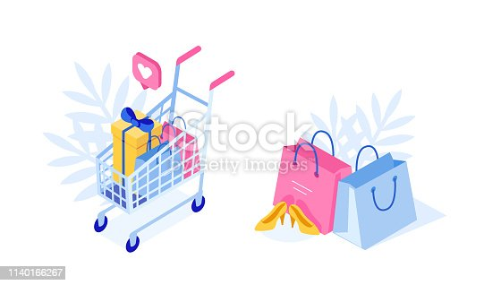 Shopping cart and bags with purchases. Can use for web banner, infographics, hero images. Flat isometric vector illustration isolated on white background.