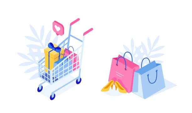 zakupy - handel detaliczny stock illustrations