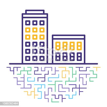 Line vector icon illustration of purchasing property with abstract lines background.