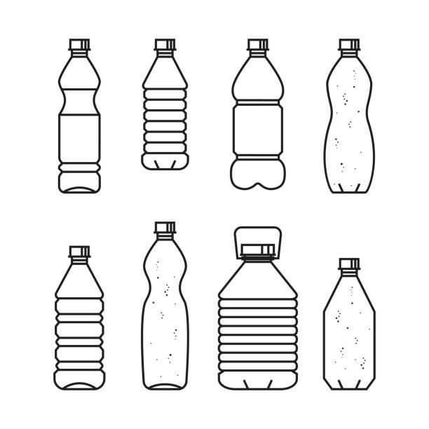 illustrations, cliparts, dessins animés et icônes de eau potable pure. illustration vectorielle ligne d'ensemble de bouteilles en plastique - bouteille d'eau