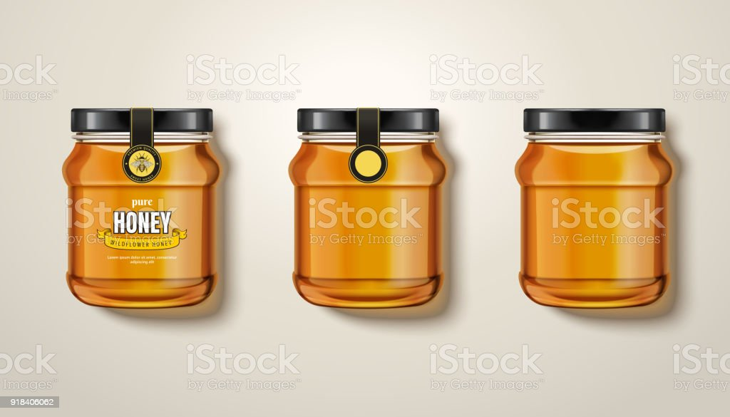 Pure honey jar mockup vector art illustration