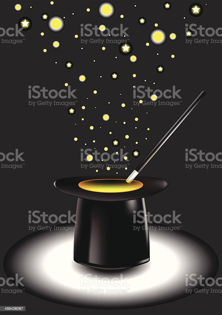 Pure Magic | Hat, Wand and Glitter royalty-free stock vector art