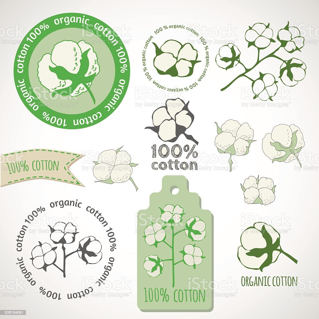 Pure organic cotton labels. vector art illustration