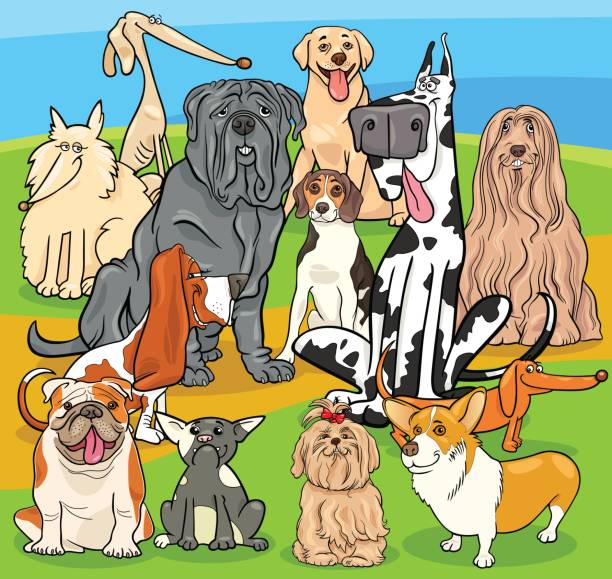 purebred dogs cartoon characters group vector art illustration