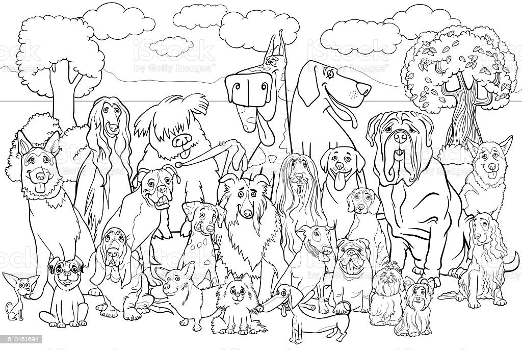 purebred dogs coloring book vector art illustration