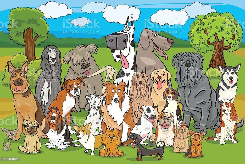 purebred dogs group cartoon vector art illustration