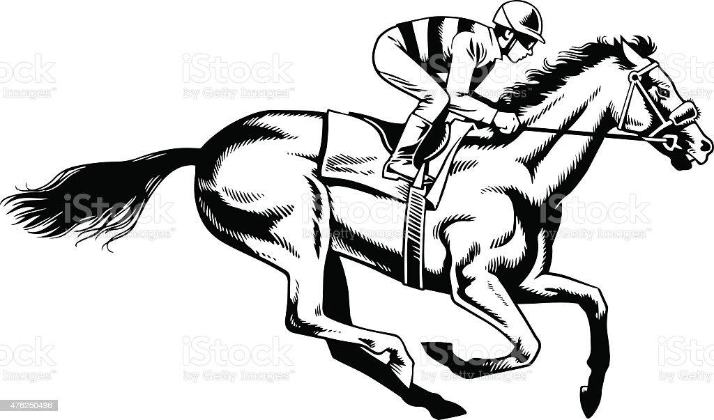 Course de chevaux de race noir et blanc dessin - Dessin cheval de course ...
