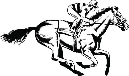 Purebred Horse Racing - Black and White Drawing