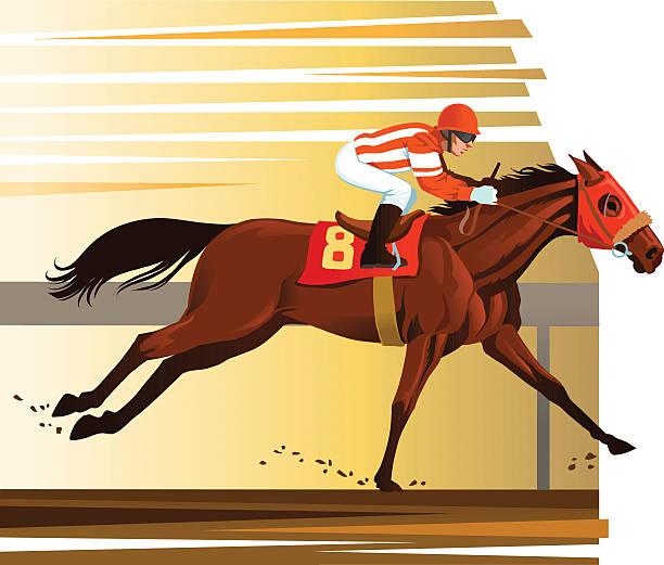 purebred horse winning the race - horse racing stock illustrations