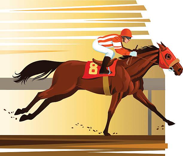 순수혈통 말 수상 리우로 - horse racing stock illustrations