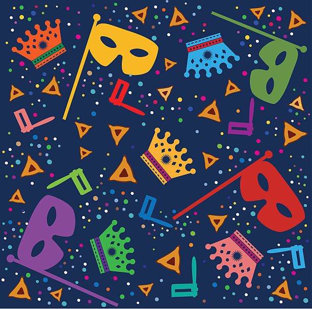 purim background with masks, rattles and hamantaschen - purim stock illustrations, clip art, cartoons, & icons